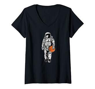 Womens Basketball Space Astronaut funny Basketball V-Neck T-Shirt