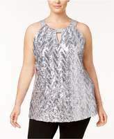 INC International Concepts Plus Size Chevron-Sequined Halter Top, Created for Macy's