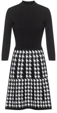 HUGO BOSS Mock-neck knitted dress with houndstooth skirt