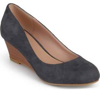 Brinley Co. Womens Stacked Wood Heel Classic Faux Suede Wedges