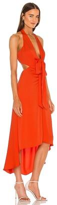 BCBGMAXAZRIA Tie Front Midi Dress