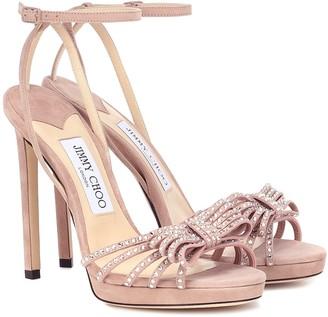 Jimmy Choo Kaite 120 embellished suede platform sandals