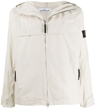 Stone Island hooded concealed front pocket jacket