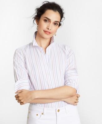 Brooks Brothers Petite Non-Iron Tailored-Fit Striped Supima Cotton Dobby Shirt