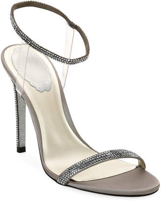 Rene Caovilla 105mm Sandals with See-Through Ankle Wrap