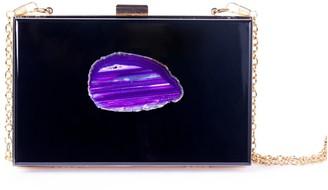Christina Greene Agate Evening Clutch Black & Purple