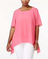 NY Collection Plus Size Handkerchief-Hem Peplum Top