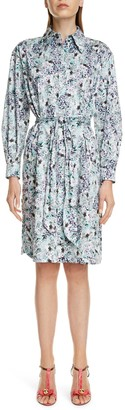 Erdem Floral Print Long Sleeve Cotton Shirtdress