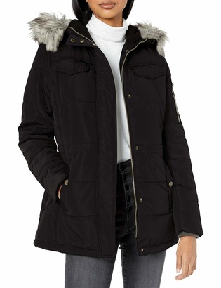 Lucky Brand Women's Short Down Jacket with Faux Fur Hood