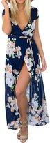 Glamaker Women's Sexy V Neck Wrap Boho Maxi Dress with Tie Waist L