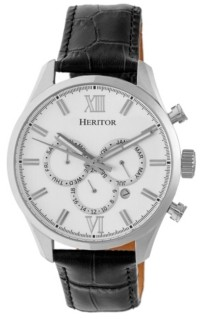 Heritor Automatic Benedict Silver Leather Watches 40mm
