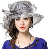 FORBUSITE Women Satin Organza Church Royal Ascot Derby Kentucky Wedding Party Hat