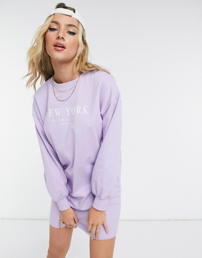 Thumbnail for your product : New Look new york slogan sweatshirt dress in lilac
