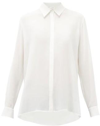 The Row Carla Long-sleeved Chiffon Shirt - Womens - Ivory