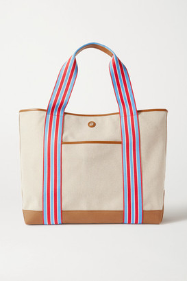 Paravel Cabana Leather And Grosgrain-trimmed Canvas Tote