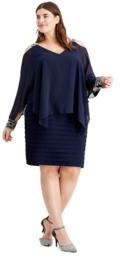 Betsy & Adam Plus Size Cold-Shoulder Popover Dress