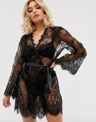 Ann Summers Saria lace robe in black