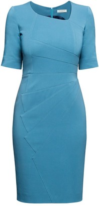 Rumour London Amelie Atlantic Blue Fitted Knee Length Dress With Asymmetrical Neckline
