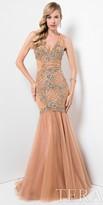 Terani Couture Lace Keyhole Back Beaded Rosette Evening Dress