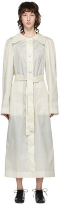 Lemaire White Silk Waxed Trench Coat
