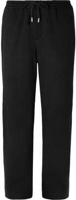 Mr P. Wide-Leg Black Fleece-Back Wool-Blend Drawstring Trousers