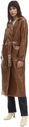 Saks Potts Croc Faux Patent Leather Trench Coat