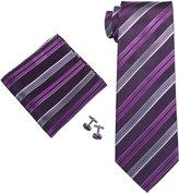 Landisun Stripes Mens Silk Necktie Set: Tie+Hanky+Cufflinks