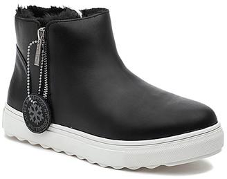 J/Slides Women's Casual boots BLACK - Black Faux-Fur Poppy Leather Ankle Boot - Women