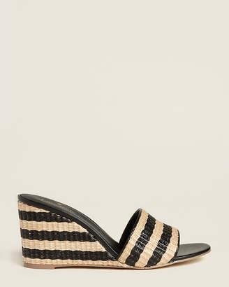 Kate Spade Natural & Black Linda Raffia Wedge Sandals