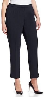 Lafayette 148 New York, Plus Size Finesse Crepe Front Zip Bleecker Pants