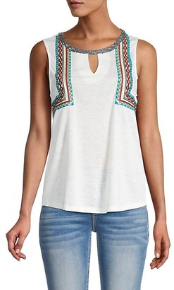 Miss Me Embroidered Mesh-Back Top