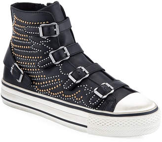 Ash Verso Studded Leather Buckle High-Top Sneakers