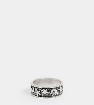 ASOS DESIGN Curve ring with star and moon detail in burnished silver tone