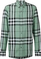 Burberry checked shirt - men - Cotton/Linen/Flax - S