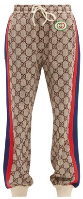 Gucci GG-print Web-stripe Track Pants - Brown Multi