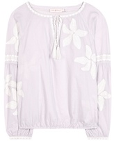 Tory Burch Honour Embroidered Cotton Blouse