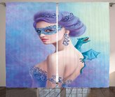 Winter Decor Curtains by Ambesonne, Fantasy Snow Queen in Mask with Dragon Artistic Illustration, Living Room Bedroom Window Drapes 2 Panel Set, 108W X 108L Inches, Violet Blue and Pale Green
