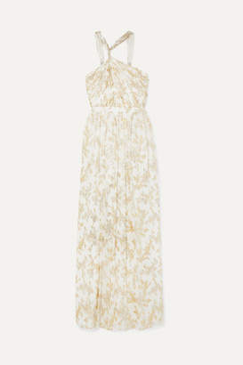 Rachel Zoe Bella Twisted Metallic Fil Coupé Chiffon Gown - Ivory