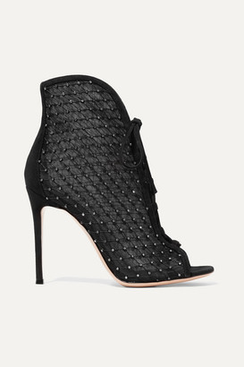 Gianvito Rossi 105 Embellished Suede-trimmed Mesh Ankle Boots - Black
