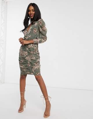 Asos Design DESIGN soft chiffon ruched midi dress in autumnal floral print
