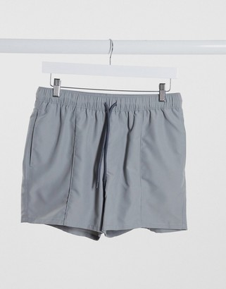 ASOS DESIGN swim shorts with pintuck in grey short length