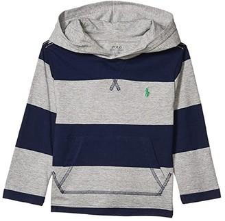 Polo Ralph Lauren Yarn-Dyed 30/1 Jersey Long Sleeve Hood Tee (Toddler) (Andover Heather Multi) Boy's Clothing