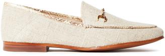 Sam Edelman Loraine Embellished Metallic Canvas Collapsible-heel Loafers