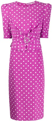 Alessandra Rich Buckle Detail Polka Dot Dress