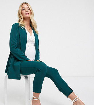 ASOS DESIGN Maternity jersey wrap suit blazer in forest green