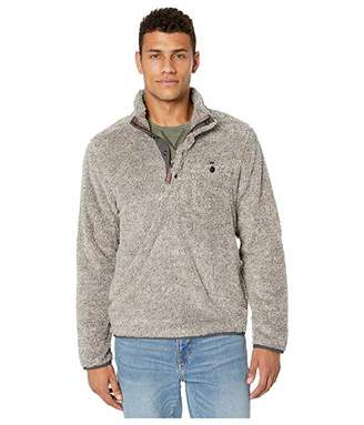 True Grit Melange Shag Sherpa Snap Pullover with Contrast Trim