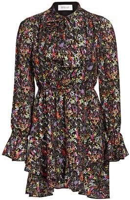Derek Lam 10 Crosby Lurex Floral Silk-Blend Ruffle-Hem Dress