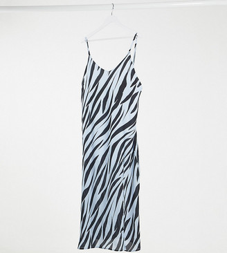 Another Reason Plus maxi slip dress in tiger print with split