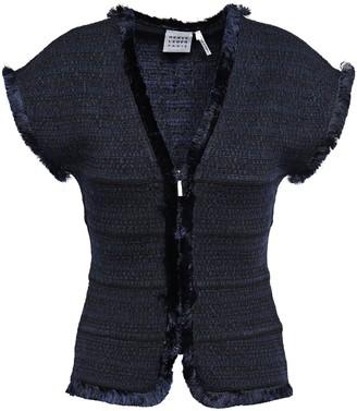 Herve Leger Frayed Jacquard-knit Jacket