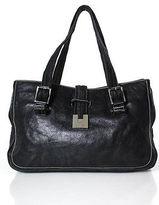 Lambertson Truex Black Leather Silver Tone Braided Handle Shoulder Handbag